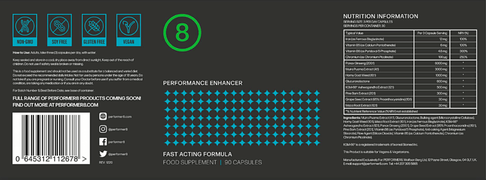 Performer 8 Supplements Facts